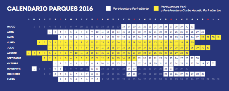 Port Aventura calendar 2016